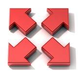 红色3D箭头扩展 顶视图 免版税库存照片