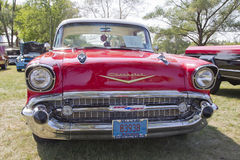 红色1957年Chevy Bel Air格栅图 库存照片