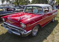 红色1957年Chevy Bel Air 图库摄影