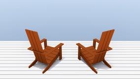 红色Adirondack椅子 图库摄影