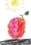 红色Apple和太阳 E 库存例证