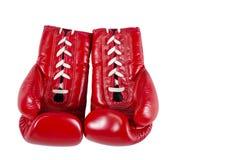 红色boxe手套被隔绝在白色背景 免版税图库摄影