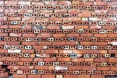 红色briks老墙壁铺磁砖了背景,规则块纹理 免版税库存图片