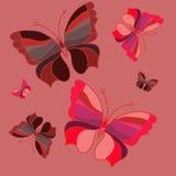 红色butterfly_set 库存例证