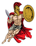 红色Caped希腊人战士 库存照片