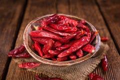 红色Chillis (干,选择聚焦) 免版税库存图片