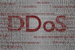 红色ddos文本二进制云彩被传染的代码3d回报背景 免版税库存图片
