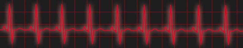 红色ECG跟踪 免版税库存照片