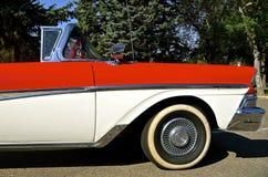 1958红色Fairlane 500敞篷车 免版税库存照片