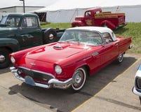 1957红色Ford Thunderbird 库存图片