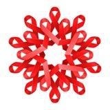 红色HIV艾滋病了悟丝带折叠了入与许多瓣的花在白色,社会连接的标志 库存照片
