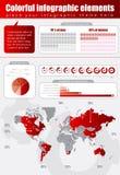 红色infographic 向量例证