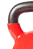 红色kettlebell的把柄的特写镜头 库存图片