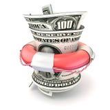 红色lifebuoy挽救金钱,卷美元 3d回报 免版税库存图片
