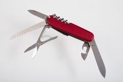 红色multitool开放刀子 库存图片