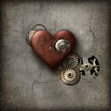 红色Steampunk心脏 库存图片