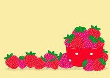 红色stravwberries和红色板材 库存照片