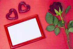 红色StValentine的背景 库存照片