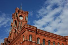红色townhall在柏林 免版税库存照片