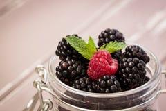 红草莓和黑莓在一个玻璃瓶子有薄菏叶子的  免版税库存图片
