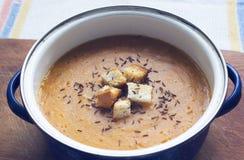 红萝卜奶油色汤用油煎方型小面包片 库存照片