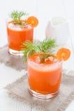 红萝卜汁在两块玻璃中 库存照片