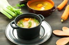 红萝卜汤用茴香和核桃和荷兰芹 库存图片