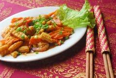 红萝卜玉米虾 库存照片