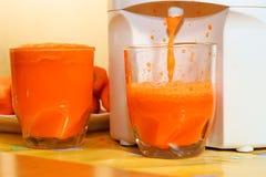 红萝卜玻璃汁榨汁器 库存图片
