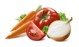 红萝卜蕃茄黄色在白色背景的葱草本 库存照片