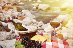 红葡萄酒、乳酪和葡萄服务在野餐 免版税库存图片