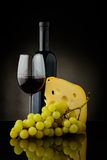 红葡萄酒、乳酪和葡萄 免版税库存照片