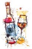 红葡萄酒剪影 库存照片
