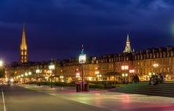 红葡萄酒在晚上,法国,阿基旃看法  免版税库存图片
