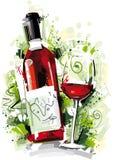 红葡萄酒摘要 库存照片