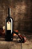 红葡萄酒瓶和小提琴 免版税库存照片