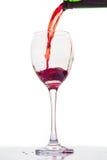 红葡萄酒瓶和玻璃 图库摄影