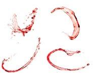 红葡萄酒飞溅集合,隔绝在白色背景 库存图片
