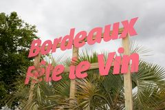 红葡萄酒,阿基旃/法国- 06 11 2018年:手段红葡萄酒酒节每年在6月葡萄园里 图库摄影