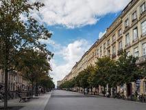 红葡萄酒, GIRONDE/FRANCE - 9月19日:典型的街道场面我 免版税库存图片