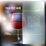 红葡萄酒玻璃有抽象背景 免版税图库摄影