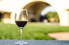 红葡萄酒玻璃特写镜头  免版税库存图片