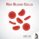 红血球(平的设计)在小插图背景 库存例证