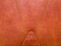 红褐色的皮革组织者盖子背景 库存照片
