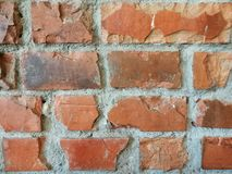 红褐色的砖块墙壁背景在餐馆 库存照片