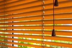 红褐色的软百叶帘的片段在窗口和blurre的 库存照片