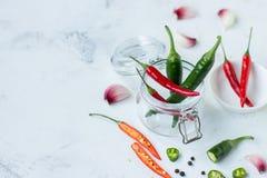 红辣椒、绿色墨西哥胡椒胡椒和大蒜 免版税库存照片