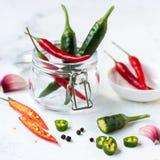 红辣椒、绿色墨西哥胡椒胡椒和大蒜 免版税库存图片