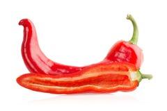 红辣椒和切片 免版税库存照片
