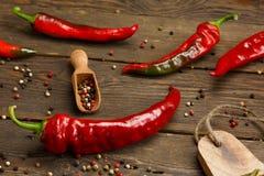 红辣椒和色的干胡椒在木纹理 库存照片